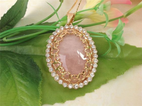 f1554 Genuine 18K GP Natural Rose Quartz OVAL PENDANT BEAD FOR 7x50MM B/110