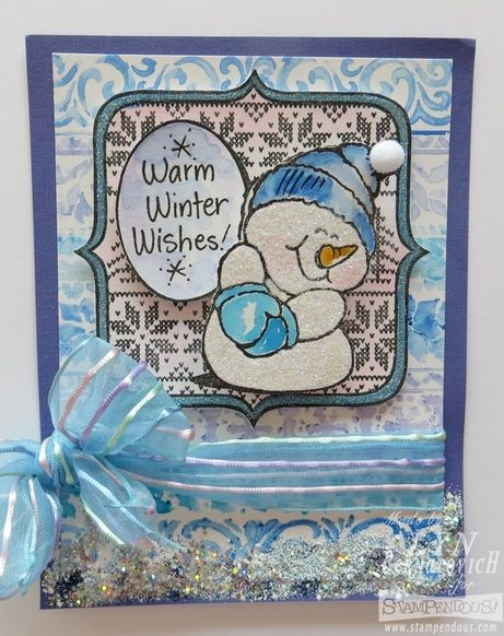 #Cre8time for a blushing snowman and watercolor stenciling. #Stampendous #DWstencils