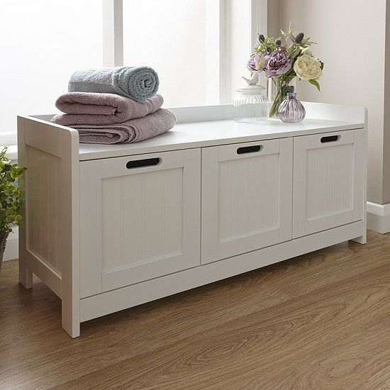 Maxima Wooden Storage Bench In White With 3 Doors Furniture In