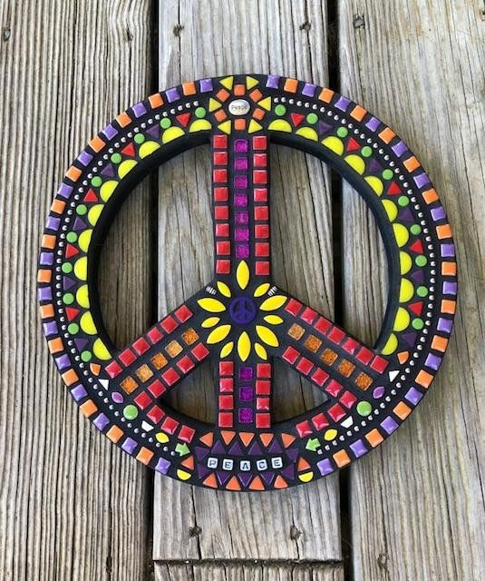 Mosaic Peace Sign Wall Hanging Plaque Wall Peace Sign Peace Art Peace Sign Mosaic