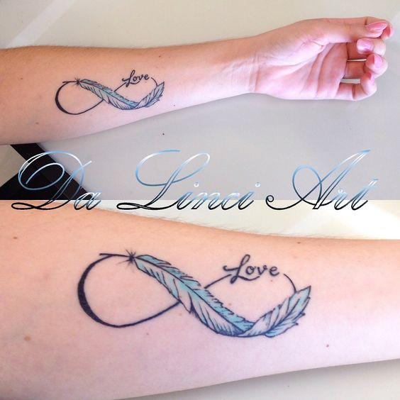 Love Invinity Feather Tattoo - Made by linda Roos - Da Linci Art, Zwijndrecht The Netherlands www.dalinciart.nl #tattoo #tattoos #blue #black #feather #feathertattoo #invinity #dalinciart #tattooshop #zwijndrecht