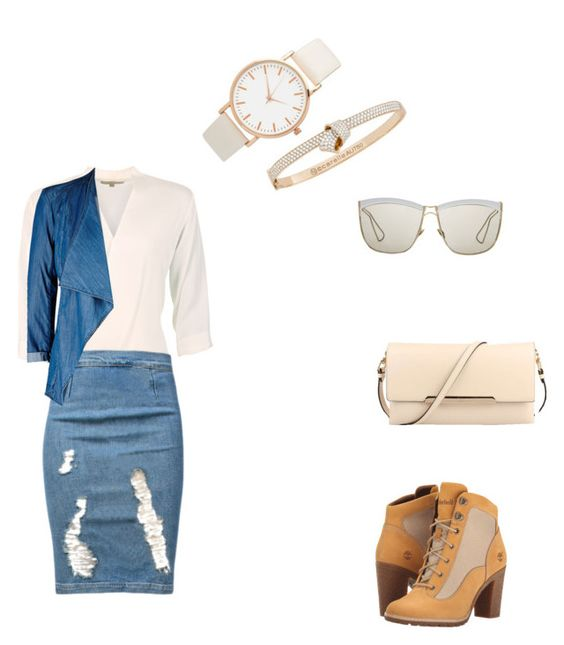 """Neutral Saturday"" by yazzy0820 on Polyvore featuring MICHAEL Michael Kors, Frame Denim, Timberland, City Chic, Carelle, Christian Dior and Christian Louboutin"