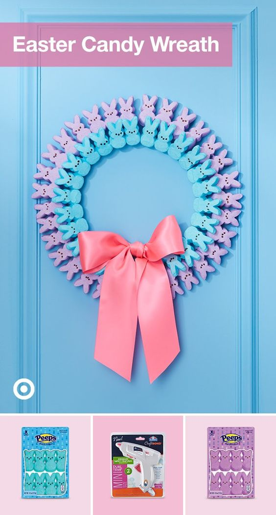 Candy is a colorful way to create crafty fun at home this Easter season. Transform your favorite Peeps flavors intoa fun, festive Easter wreath with popsicle sticks and hot glue.
