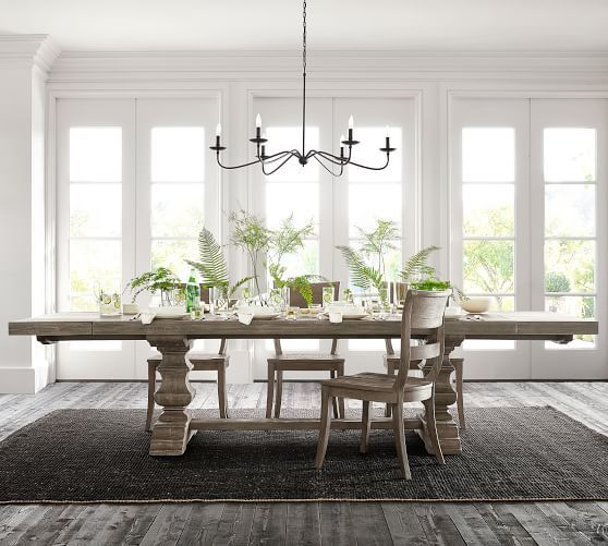 Banks Extending Dining Table Gray Wash Pottery Barn Dining Room