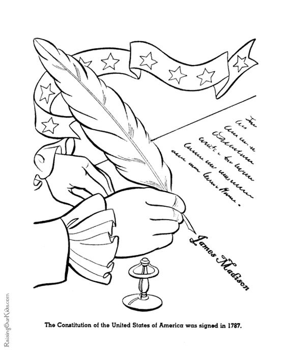 Patriotic / America Coloring Page - Signing The ...
