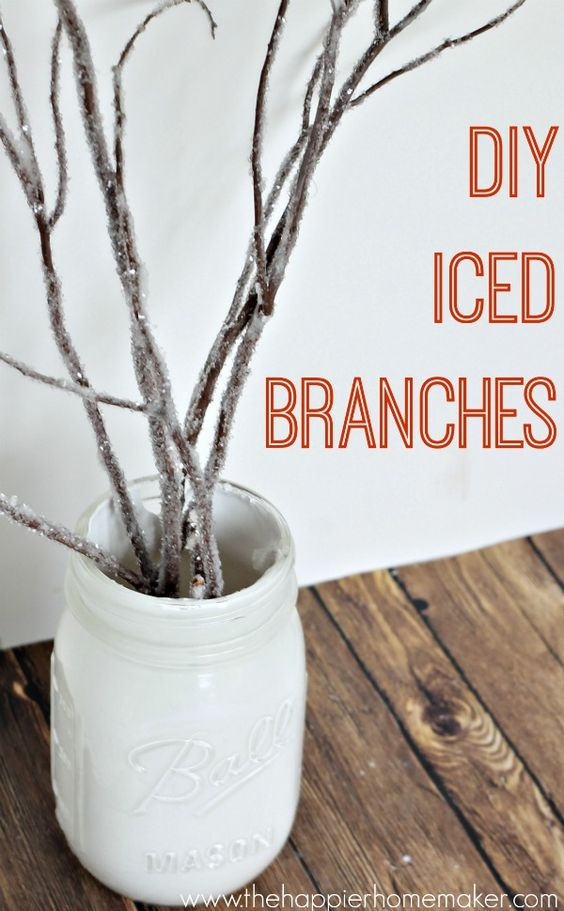 DIY Iced Branches - The Happier Homemaker....different colors also for Halloween, etc!!!!