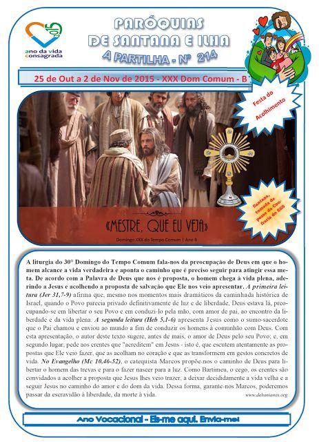 Paróquias de Santana e Ilha: A Partilha nº 214 - 25 de outubro a 2 de novembro ...