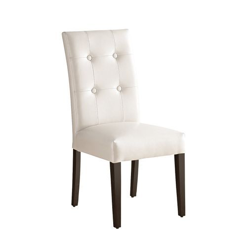 Marshall Ivory Faux Leather Dining Chair With Espresso Wood