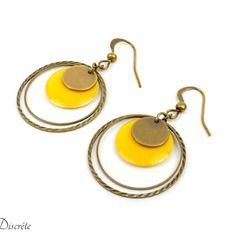 Boucles d'oreilles en métal couleur bronze avec sequin jaune,bronze et anneaux