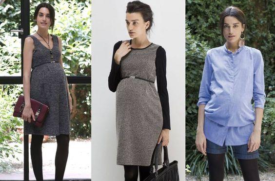 De izquierda a derecha, nueva colección Otoño Invierno #premama de Mit Mat Mamá: Pichi Sondie - pichi Vitra - camisa Glam #moda #embarazada #embarazo