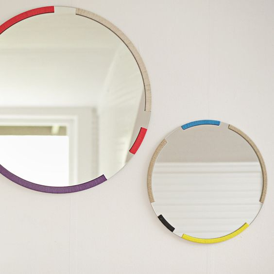 coloured round mirrors