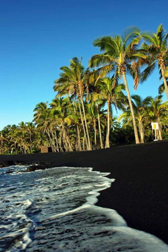 La plage basaltique de Punalu'u à Hawaï Le relief tourmenté de l'île d'Hawaii, au large de la côte ouest des Etats-Unis, est dû à l'importante activité volcanique qui transforme régulièrement les paysages. Les traces de ce volcanisme se retrouvent jusqu'au bord de l'océan, comme ici, sur la plage de Punalu'u. Le sable doit sa couleur foncée au basalte issu des projections de lava qui explose lorsqu'elle entre en contact avec l'eau. On peut parfois apercevoir sur cette plage la tortue…
