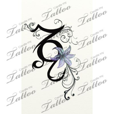 Capricorn And Leo Signs Entwined Together Custom Tattoo Delicate Tribal Version 19951