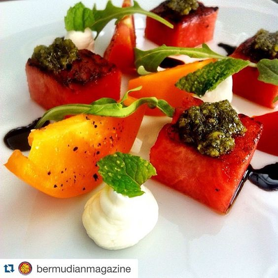 #Repost @bermudianmagazine with @repostapp. Thanks for the great photo! ・・・ Seared Watermelon with Tucker's goat cheese, Bermuda tomatoes and pesto, YUM! #eatlocalbda @marcusbermuda  #thebermudian #bermudianmagazine #bermuda #gotobermuda #locavore