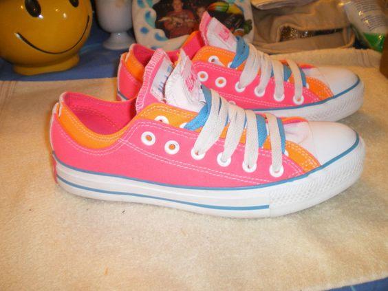 Converse ALL STAR Women's Shoes,Hot Pink,Orange,Blue,Size: 9 #Converse #BasketballShoes