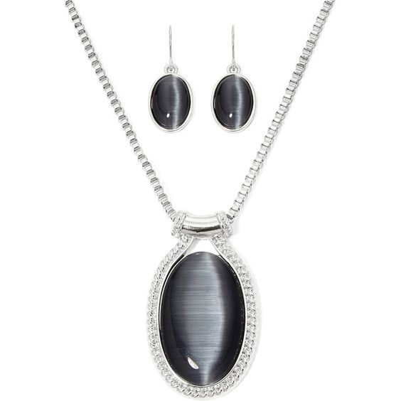 Mixit™ Simulated Gray Cat's Eye Oval Earring and Pendant Necklace Set ($14) ❤ liked on Polyvore featuring jewelry, imitation jewellery, mixit, pendant jewelry, imitation jewelry and pendants & necklaces