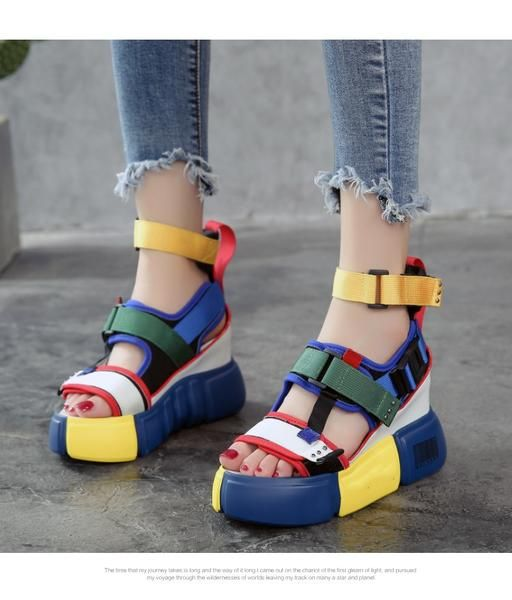 High Top Chunky Wedge Platform Sandal