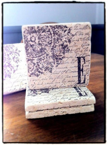 Awesome...coaster tiles with Stampin' Up! stamps. Medallion, En Francais or any stamp on discounted tumbled stone from Home Depot would work and be a fun project and a inexpensive housewarminig gift!