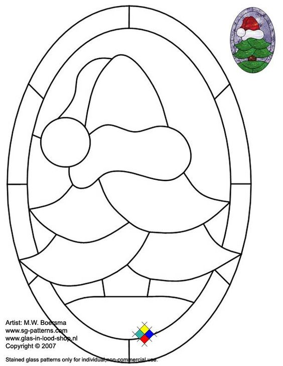 Stained glass patterns for free glass pattern 044 for Christmas stained glass window templates