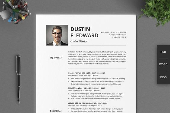 2 in 1 photo Word resume template by Inkpower on @creativemarket - media researcher sample resume
