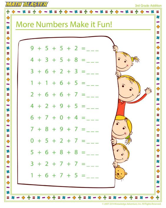 math worksheet : more numbers make it fun!  free printable math worksheet for 3rd  : Free Third Grade Math Worksheets