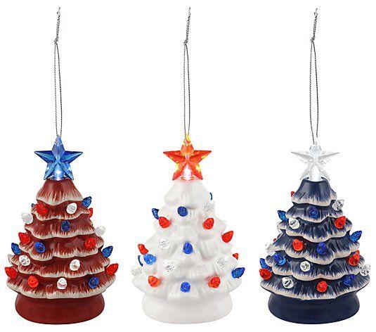 Mr Christmas Set Of 3 Mini Lit Patriotic Nostalgic Trees Qvc Com In 2020 Christmas Settings Mr Christmas Christmas