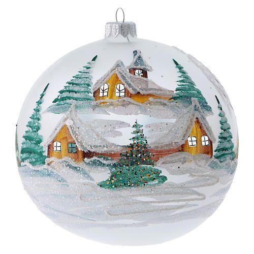 Palla Di Natale Con Foto Digitali.Palla Albero Di Natale Vetro Dipinto Chalet Innevati 150 Mm 1 Natale Palline Di Natale Alberi Di Natale