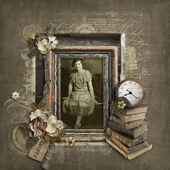 Audrey...this charming monochromatic page with a subtle distressed background and gorgeous photo framing make this page a real stunner. Add vintage images of ephemera and antique books to give the look of lovingly stored treasures from an old family trunk.