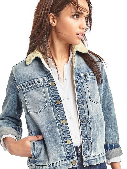 sherpa denim jacket - gap: