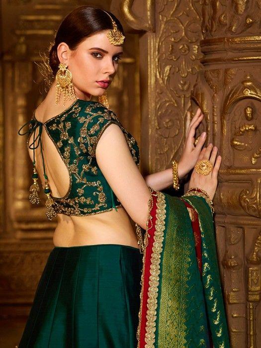 Designer Lehenga Choli In Green Keyhole Blouse Blouse Back