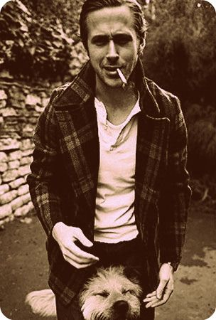 Ryan Gosling with dog. There is something about sepia that is so flattering... not that he needs to look MORE flattering.