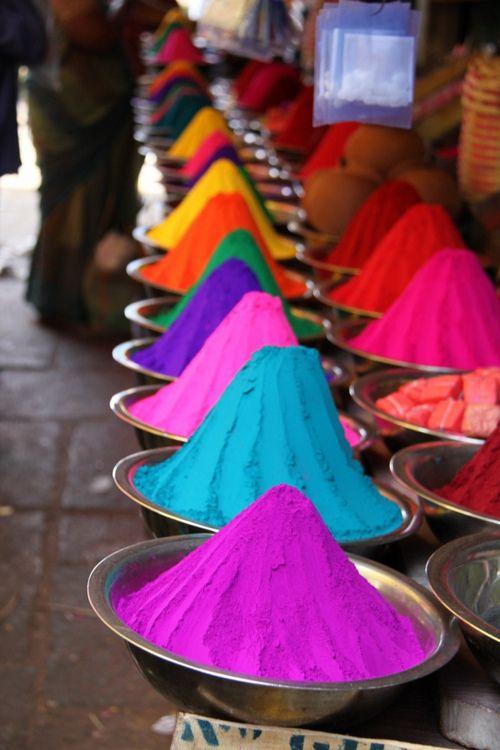 Indian Pigments in Outdoor Market.  Mysore, India.