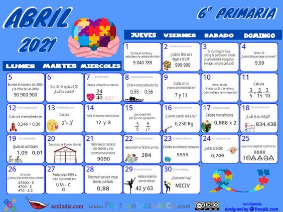 Calendario Sexto ABN – Abril 2021