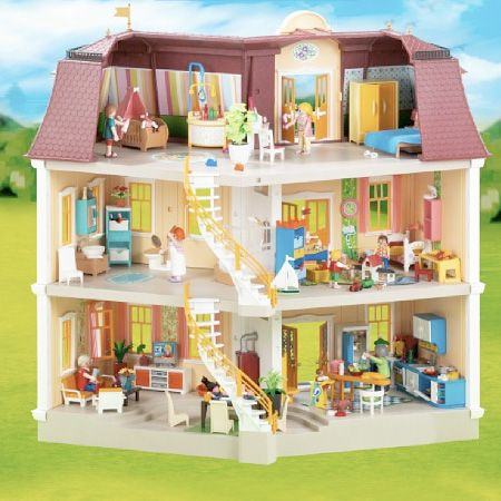 Playmobil doll house large grand mansion free ground for Playmobil kinderzimmer 4287