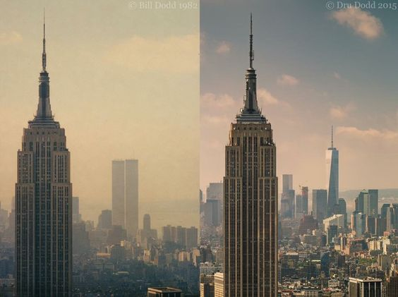 Empire State Building before and after 911