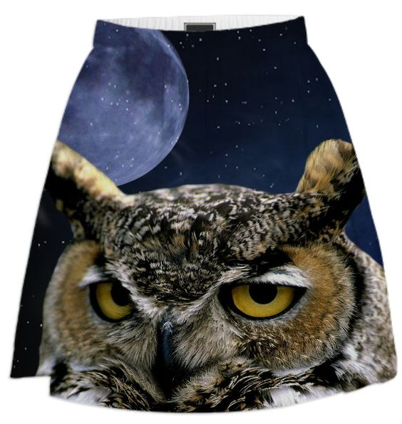 Owl and Blue Moon Summer Skirt designed by Erika Kaisersot | Print All Over Me
