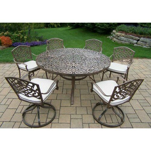 Mcgrady 7 Piece Dining Set With Cushions In 2020 Round Outdoor Dining Table Round Patio Table Outdoor Dining Table Setting