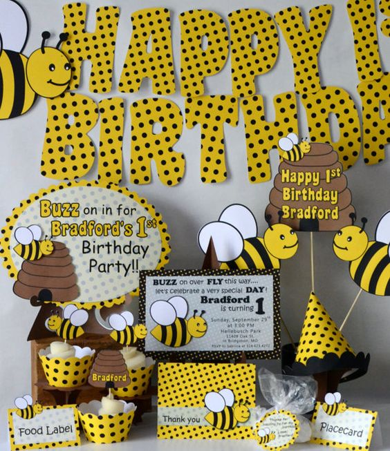 Bumble bee party package baby shower honey bee party for 1st birthday decoration packages