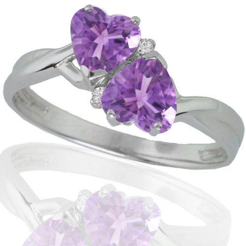 10k White Gold Amethyst and Diamond Heart Ring