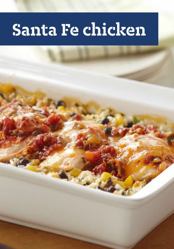 Santa fe chicken, Santa fe and Cheesy rice on Pinterest