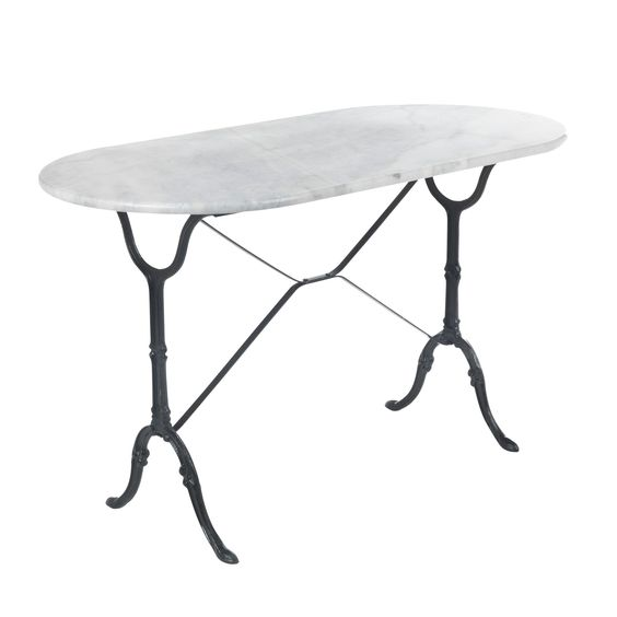 Table ovale en marbre blanc noir bistrot les tables de for Table cuisine en pin