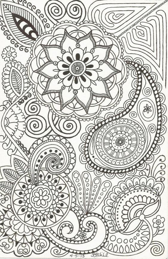 Henna Inspired Doodle By Plhill Coloring Flower And