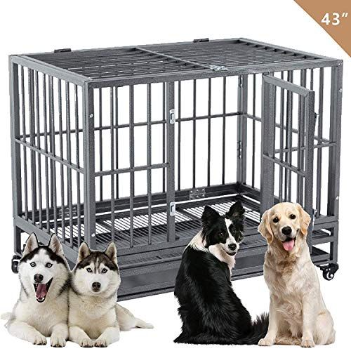 Suncoo 43 Heavy Duty Dog Crate Pet Kennel Rust Resistant Metal