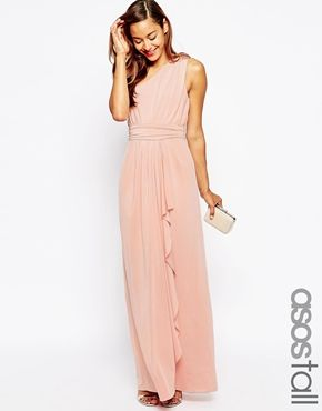 ASOS TALL WEDDING One Shoulder Sexy Slinky Maxi Dress