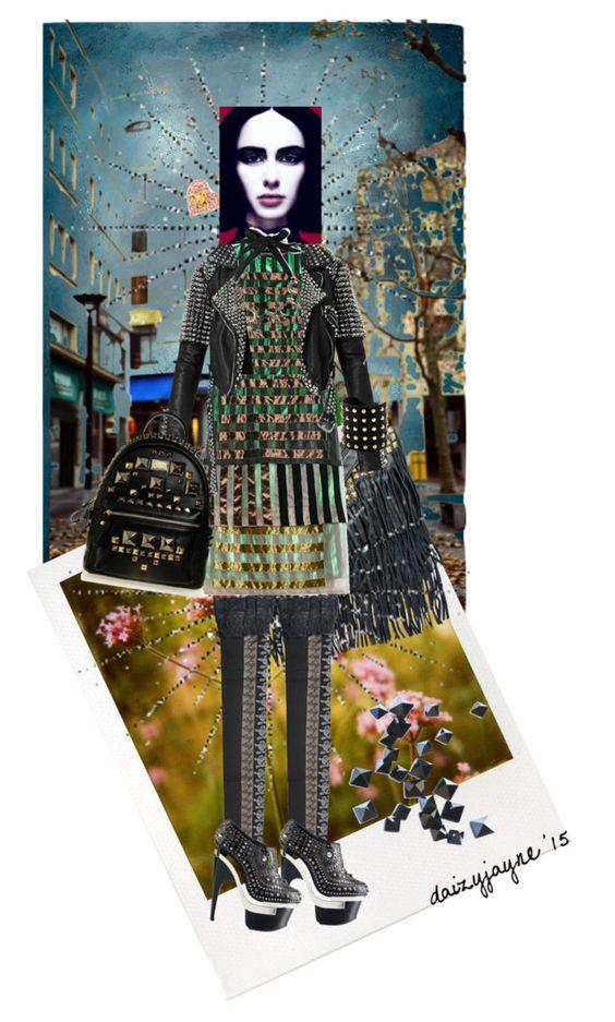 """studding"" by daizyjayne ❤ liked on Polyvore featuring Leftbank Art, Polaroid, DailyLook, Vivienne Westwood, Christopher Kane, Burberry, Michael Kors, Versace, Ardency Inn and Yazbukey"