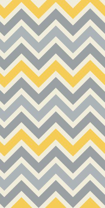 Stylish Removable Wallpaper Chevron Gray Yellow Pattern