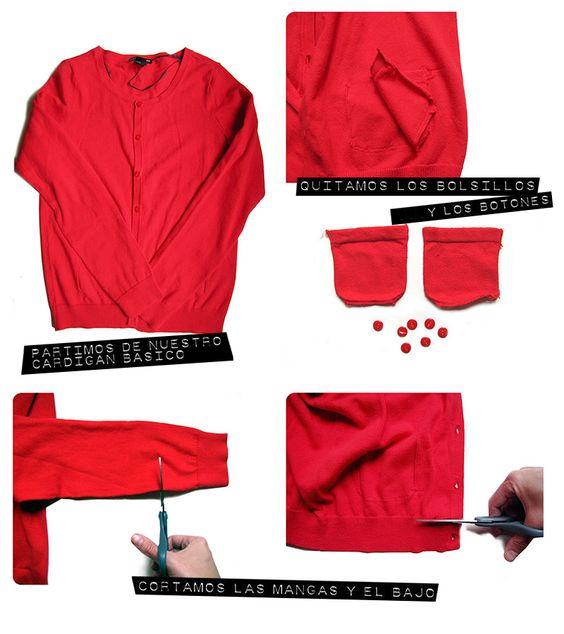 chaqueta tipo chanel diy Cómo achanelar un cárdigan básico. #DIY