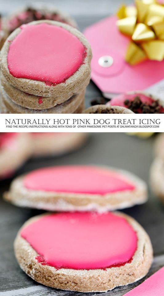 Recipe Hot Pink Glazed Carob Valentine Cookies Dog Treat Icing