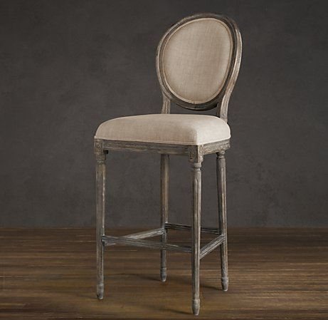 Vintage French Round Upholstered Barstool Bar Counter Stools Restoration Hardware Home
