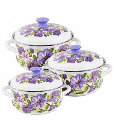 Набор эмалированной посуды из 3 предметов Лиловый цвет-1 - КМК